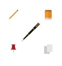 flat icon stationery set of pushpin drawing tool vector image vector image