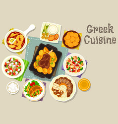 greek cuisine lunch with dessert icon vector image vector image