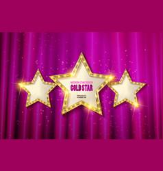 retro light sign three gold stars vector image