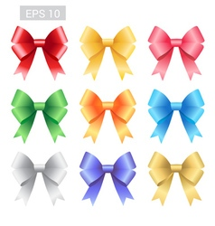Set of colorful ribbon tied bows vector image