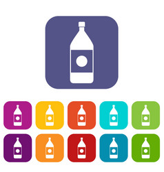 water bottle icons set flat vector image vector image