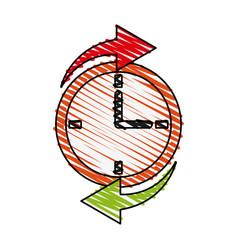 clock with arrows design vector image