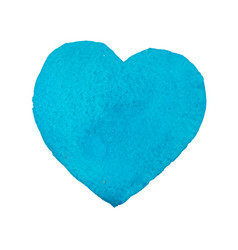 hand-drawn painted watercolor blue heart vector image