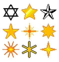 Pixel stars for games icons set vector image