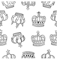 crown hand draw pattern style vector image vector image