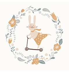 cute bunny rides by cycle vector image vector image