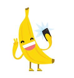 cute kawaii yellow banana making selfie photo vector image