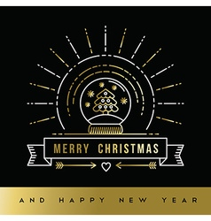 Gold Christmas New Year line art snow globe card vector image