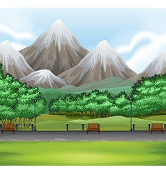 Nature scene with park and mountain vector image