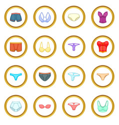underwear icons circle vector image vector image