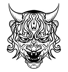 black and white demon with horns vector image vector image