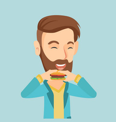 man eating hamburger vector image