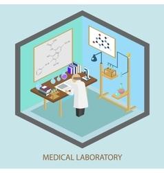 Medical laboratory scientist test tubes flasks vector image