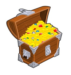 Open treasure chest Old casket with money Gold and vector image
