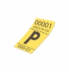 Parking ticket icon cartoon style vector image