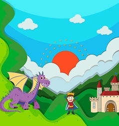 Prince and dragon by the palace vector image vector image