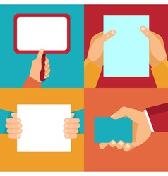 set of hands holding blank documents and signs vector image vector image