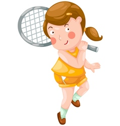 Young girl playing tennis vector image