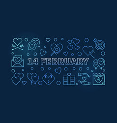 14 february blue line valentines day vector