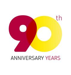 90 anniversary years logo vector image