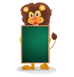 A smiling lion holding an empty board vector