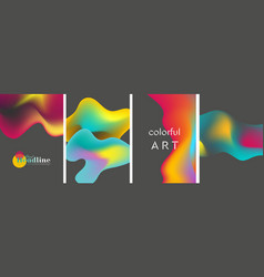 Abstract bright liquid wavy shapes backgrounds vector