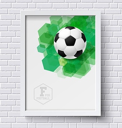Abstract soccer poster Image frame on white brick vector