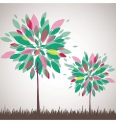 abstract tree flowers vector illustration vector image