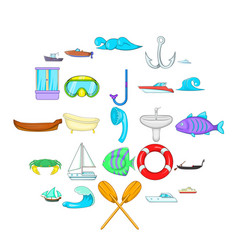 Afloat icons set cartoon style vector