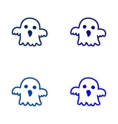 Assembly realistic sticker design on paper ghost vector