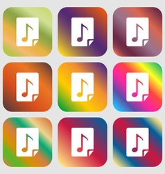 Audio MP3 file icon sign Nine buttons with bright vector image