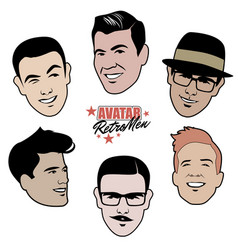 Avatars retro men set six 40s or 50s style vector