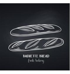 Baguette bread chalkboard style vector