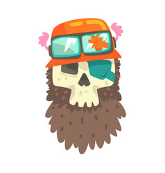 Beardy scull in orange helmet with shades vector