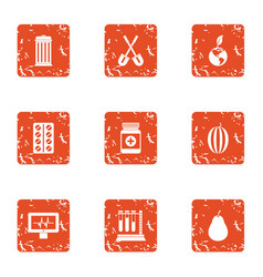 Biomedical science icons set grunge style vector