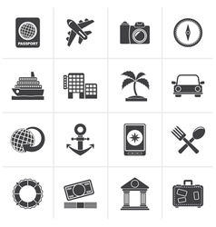Black Tourism and Travel Icons vector image