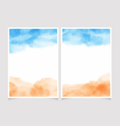 blue sky and sand beach abstract watercolor vector image
