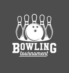 bowling emblem label badge and design elements vector image