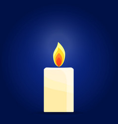 Burning candle on dark background vector
