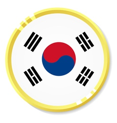 button with flag Republic of Korea vector image vector image