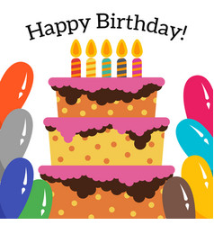 card with sweet cake for birthday celebration vector image
