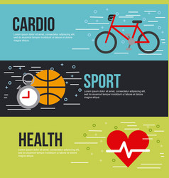 cardio sport health lettering infographic vector image