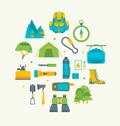 Cartoon traveling camping and hiking round design vector