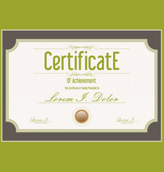 Certificate retro vintage green and brown template vector