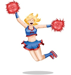 Cheerleader jumps in the air vector