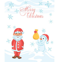 Christmas cartoon card with shy Santa vector image