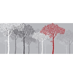 Concept of red pine silhouette vector