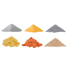construction material piles gypsum and sand vector image