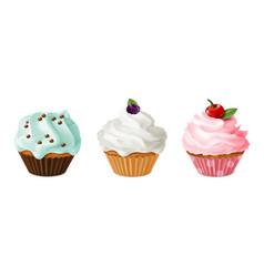 cupcakes realistic homemade dessert sweet vector image