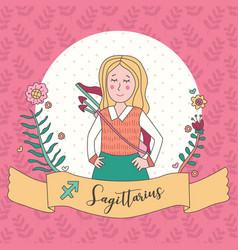 Cute horoscope zodiac girl sagittarius vector